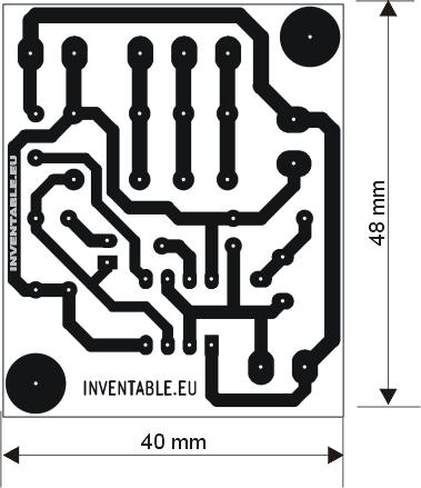 Circuito impreso de la célula fotoeléctrica con el 555.