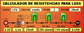 Calculador on-line de resistencias para leds