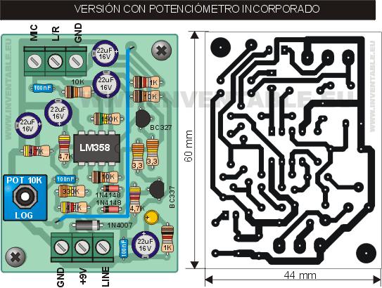 Vista pictórica y circuito impreso del módulo con potenciómetro incorporado.