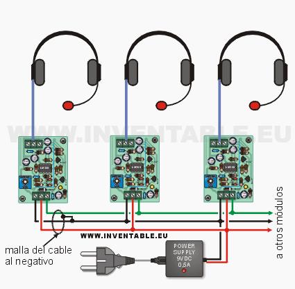 Diagrama de conexión con tres auriculares.