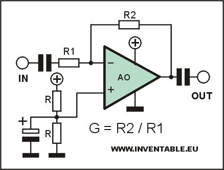 Circuito de un amplificador con fuente unica y cálculo de la ganancia.