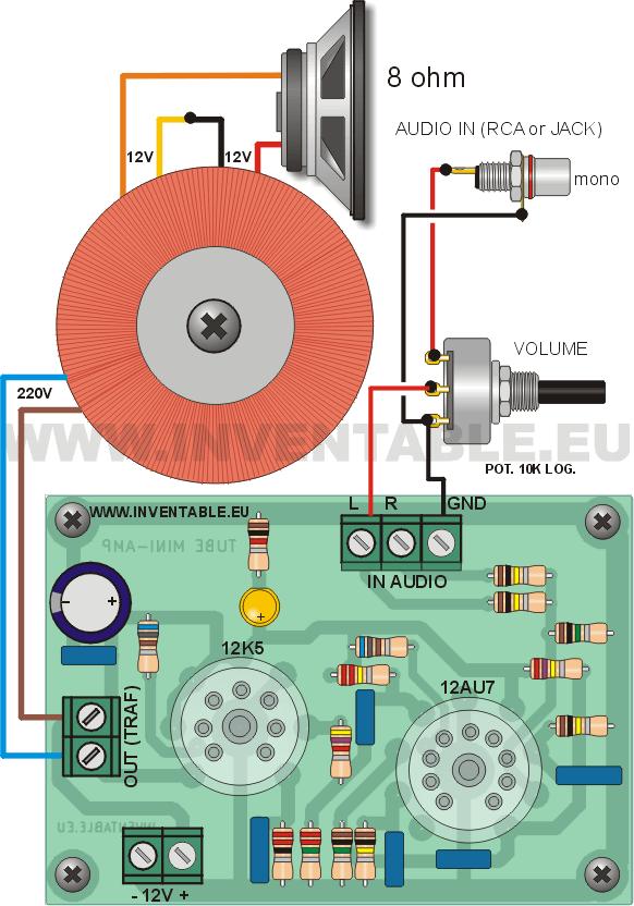 Diagrama de conexiones del amplificador con entrada mono.