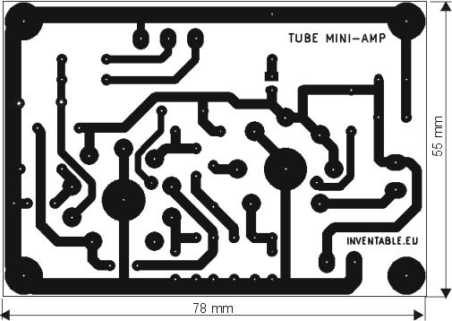 Circuito impreso del amplificador valvular.