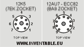 Zócalos de las dos válvulas usadas (12AU7 / ECC82 y 12K5).