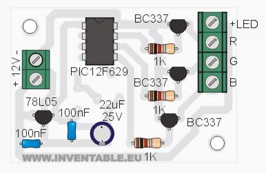 Vista pictórica del controlador para tiras de leds RGB.