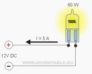 Corriente en una lámpara de 60 Watt con 12V