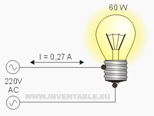 Corriente en una lámpara de 60 Watt con 220V