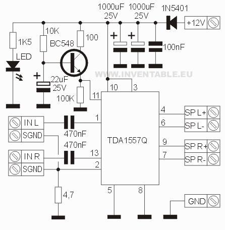 Circuito electrónico del amplificador