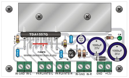 Diagrama pictórico de montaje del amplificador