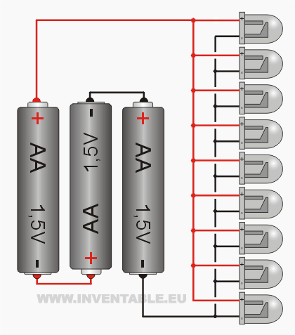 Conexión de varios leds sin resistencia a tres pilas