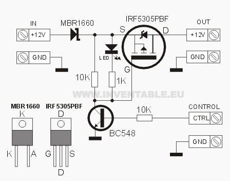 Circuito electrónico del conmutador con Mosfet