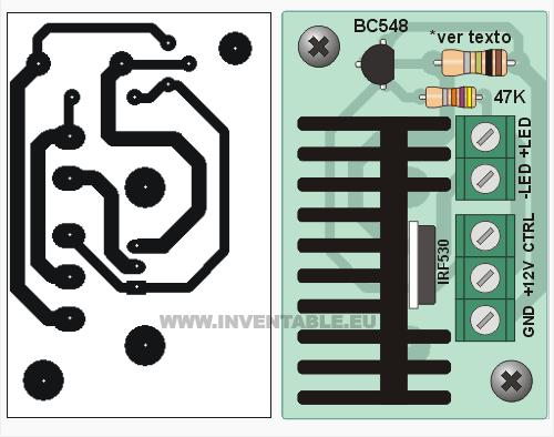 Circuito impreso y vista pictórica del driver