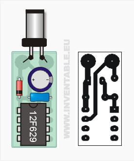 Vista pictórica de la llave y circuito impreso