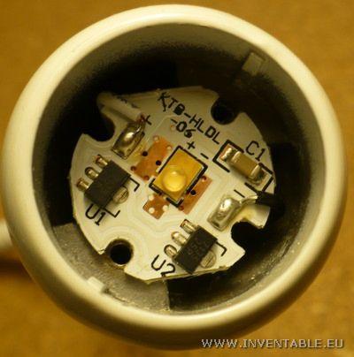Detalle del circuito electrónico de la lámpara
