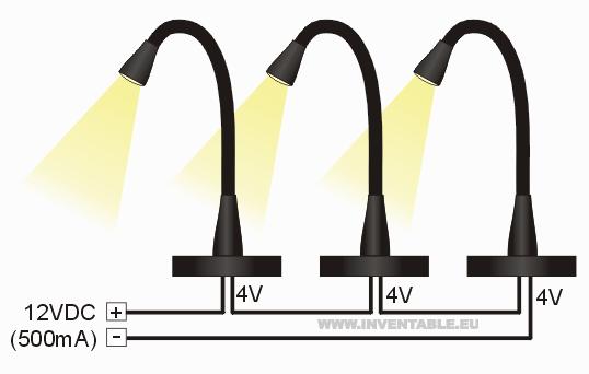 Conexión de tres lámparas a 12V DC
