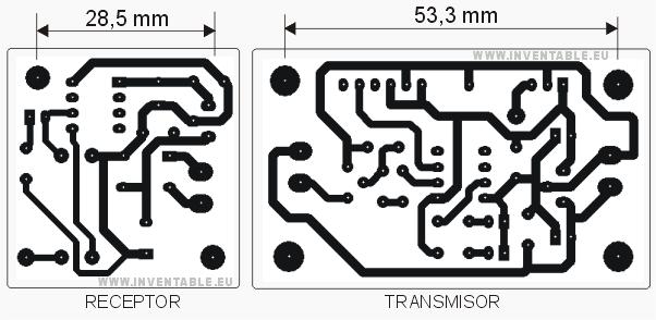 Circuito impreso del transmisor y del receptor