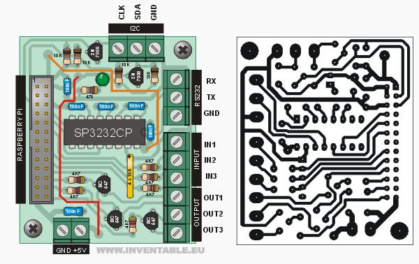 Circuito impreso y diagrama pictórico de la interfaz para Raspberry PI