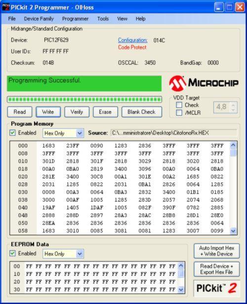 Programa PicKit2 programando un nuevo micro
