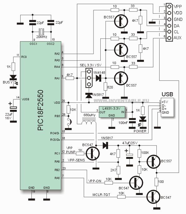 Circuito electrónico del programador