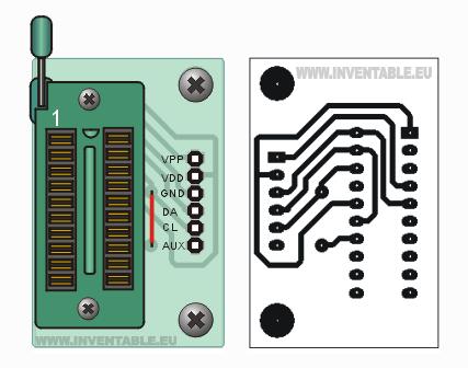 Circuito impreso del zócalo para micros hasta 20 pins