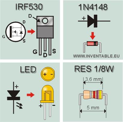 Encapsulado del IRF530, 1N4148, leds y resistencias de 1/8 Watts.