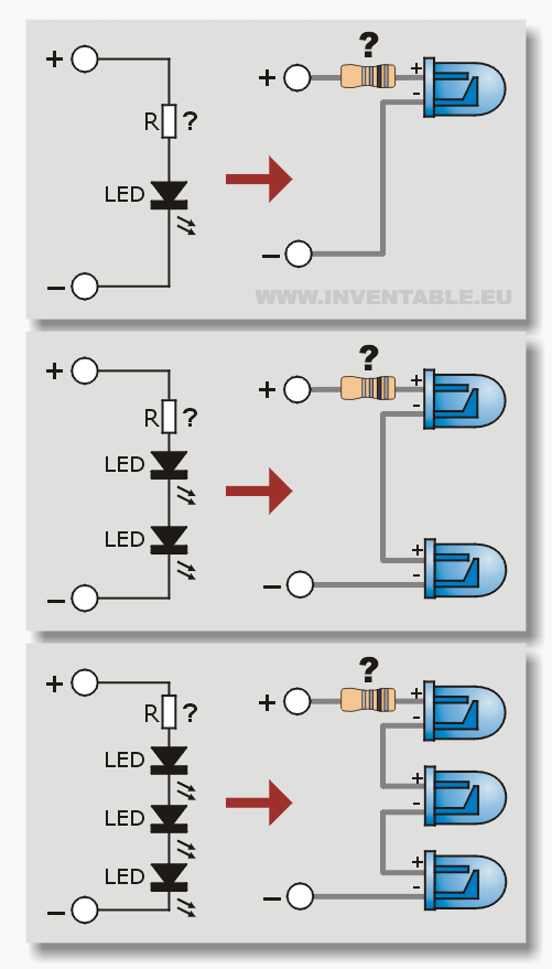 Diagramas de conexión de leds en serie