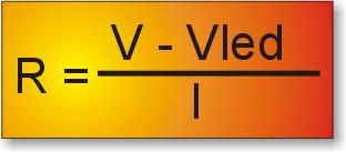 Fórmula para el cálculo de la resistencia en un led