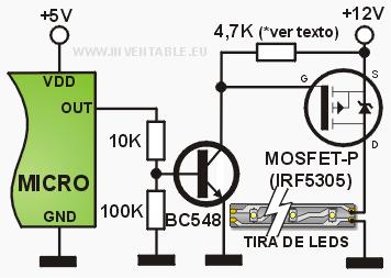 Construir controlador Mosfet-conexion-canal-p