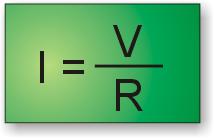 Ley de Ohm: fórmula para calcular la corriente conociendo la tensión y la resistencia.