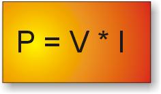 Fórmula para calcular la potencia conociendo la tensión y la corriente.