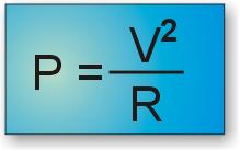 Fórmula para calcular la potencia conociendo la tensión y la resistencia.