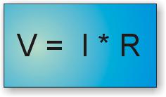 Ley de Ohm: fórmula para calcular la tensión conociendo la corriente y la resistencia.