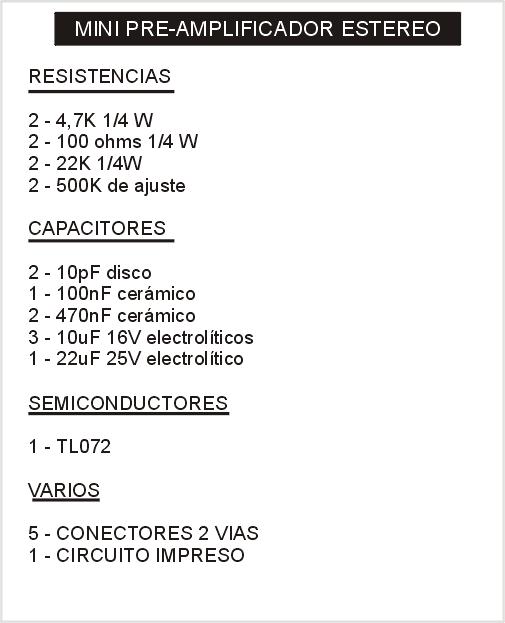 Elenco componentes del mini-amplificador en versión estereo