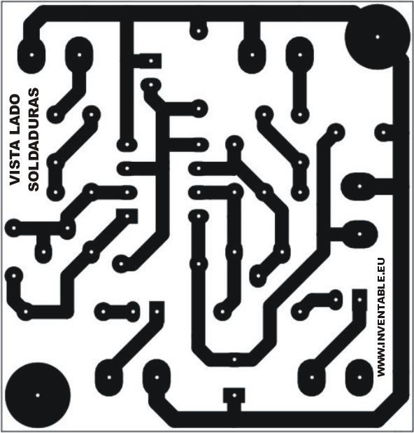 Circuito impreso del mini-preamplificador en versión estéreo. Vista desde el lado soldaduras.