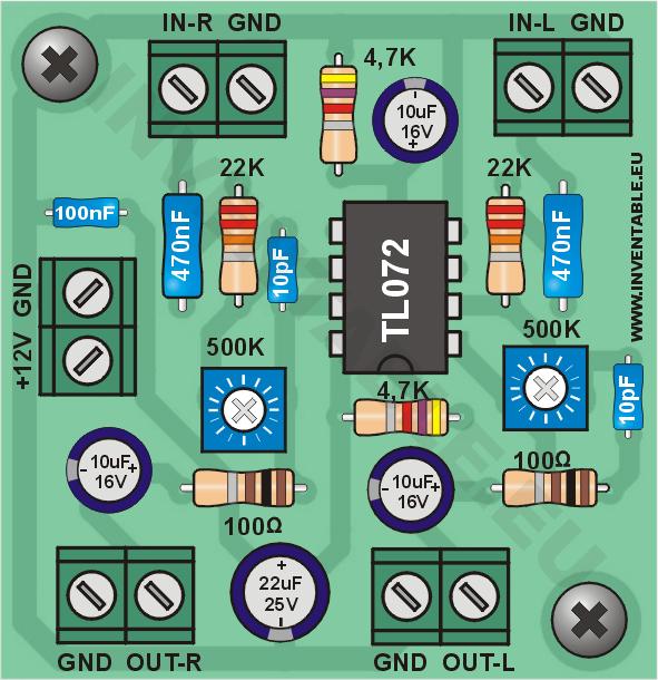 Vista pictórica del mini-preamplificador en versión estereo