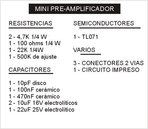 Elenco componentes del mini-preamplificador en versión mono