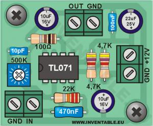 Vista pictórica del mini-amplificador en versión mono