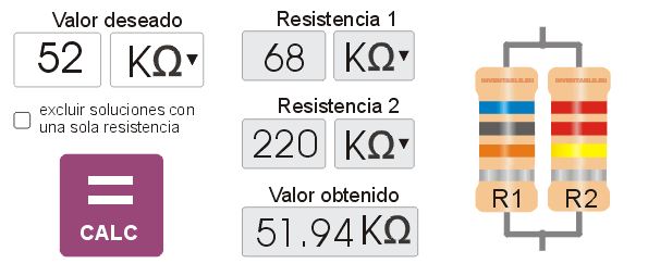 Calculadora de resistencias en paralelo