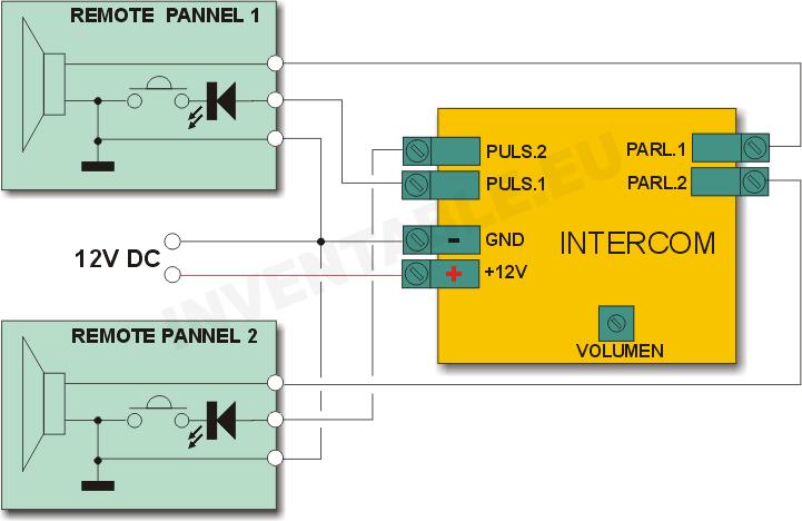 Diagrama en bloques y de conexiones del intercomunicador