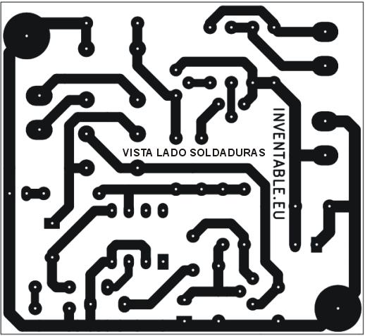 Vista del lado soldaduras del circuito impreso.