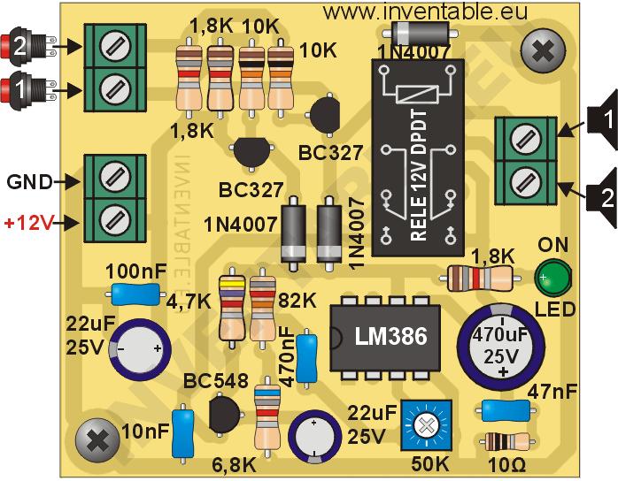 Vista pictórica del circuito impreso del intercomunicador