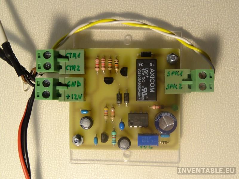 Circuito impreso del intercomunicador montado y conexiones