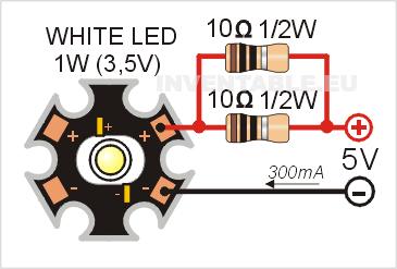 Circuito para a alimentar un led de potencia de 1W con dos resistencias de 10 ohms