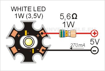 Circuito de alimentación de un led de potencia con una resistencia