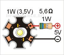 Circuito para a alimentar un led de potencia de 1W con una sola resistencia de 5,6 ohms