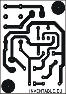 Circuito impreso visto desde el lado de las soldaduras.