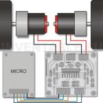 Vista pictórica de un puente para motores de corriente continua (DC) conectado a dos motores