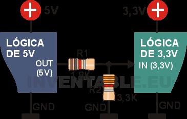 Vista pictórica del divisor resistivo para bajar la tensión de 5V a 3,3V.