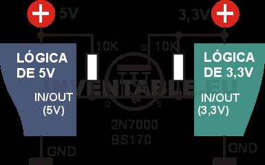 Circuito del adaptador bidireccional de 3,3V a 5V con mosfet 2N7000 o BS170.