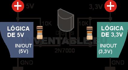 Adaptador bidireccional de 3,3V a 5V con mosfet 2N7000.